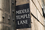 Middle Temple Lane sign on wall by Gate House entrance from Fleet Street London. UK