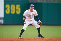 Montgomery Biscuits shortstop Daniel Robertson (4) during a game against the Jackson Generals on April 29, 2015 at Riverwalk Stadium in Montgomery, Alabama.  Jackson defeated Montgomery 4-3.  (Mike Janes/Four Seam Images)