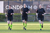assistant referee Ella De Vries , referee Caroline Lanssens , assistant referee Heidi Houtthave pictured during a female soccer game between Sporting Charleroi and Oud Heverlee Leuven on the 17 th matchday of the 2020 - 2021 season of Belgian Scooore Womens Super League , tuesday 30 th of March 2021  in Marcinelle , Belgium . PHOTO SPORTPIX.BE | SPP | STIJN AUDOOREN