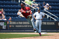 Rochester Red Wings third baseman Humberto Arteaga (11) makes a throw to first base against the Scranton/Wilkes-Barre RailRiders at PNC Field on July 25, 2021 in Moosic, Pennsylvania. (Brian Westerholt/Four Seam Images)