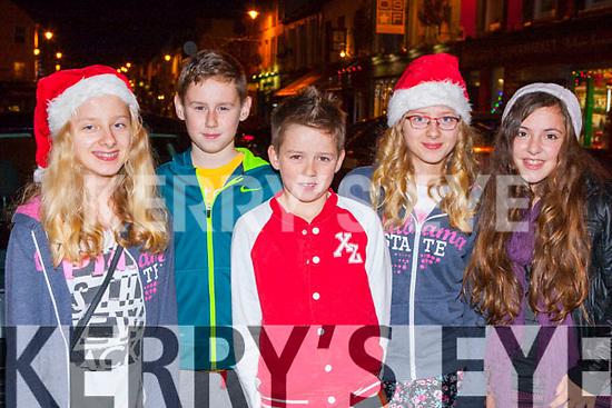 Julia Klorek, kaleb Lynch, Josh Feyn, Kasia Klorek and Laura Lovasekova getting into the xmas spirit at the Kenmare Christmas celebrations on Saturday night