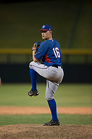 AZL Rangers relief pitcher Chris Morris (16) delivers a pitch during an Arizona League game against the AZL Cubs 2 at Sloan Park on July 7, 2018 in Mesa, Arizona. AZL Rangers defeated AZL Cubs 2 11-2. (Zachary Lucy/Four Seam Images)