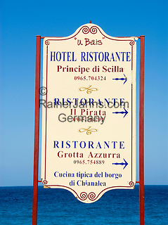 Italy, Calabria, Scilla: sign for hotel and restaurant