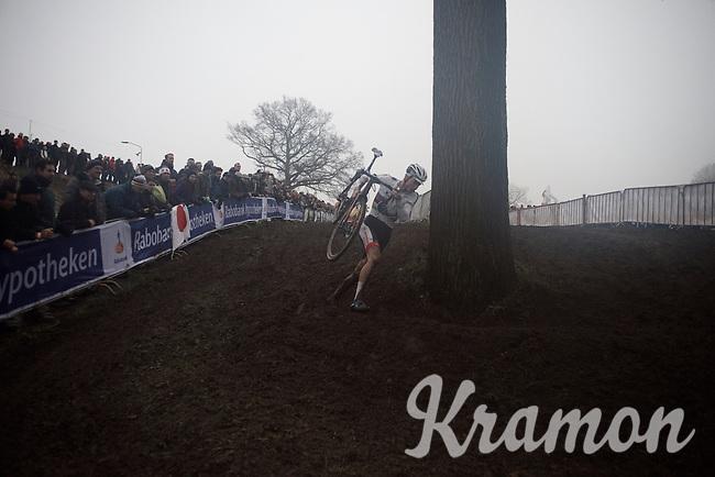 Mathieu Van der Poel (NLD/BKCP-Corendon) finding his way through the upcoming mist<br /> <br /> Grand Prix Adrie van der Poel, Hoogerheide 2016<br /> UCI CX World Cup