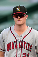 Quad Cities River Bandits pitcher Will Klein (21) after a game against the South Bend Cubs on August 20, 2021 at Four Winds Field in South Bend, Indiana.  (Mike Janes/Four Seam Images)