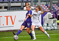Laura Deloose (14) of Anderlecht pictured in a duel with Renate-Ly Mehevets (15) of Sporting Charleroi during a female soccer game between RSC Anderlecht Dames and Sporting Charleroi  on the second matchday of the 2021 - 2022 season of Belgian Womens Super League , saturday 28 th of August 2021  in Brussels , Belgium . PHOTO SPORTPIX   DAVID CATRY
