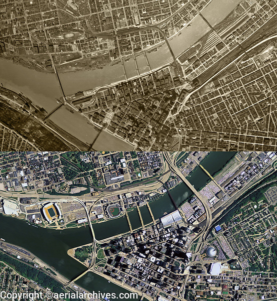 historical aerial map comparison betwen 1948 and 2010, Pittsburgh. Pennsylvania