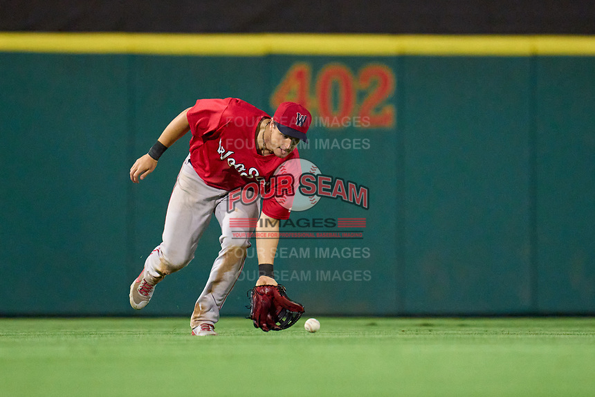Worcester Red Sox outfielder Tate Matheny (35) fields a ground ball during a game against the Rochester Red Wings on September 3, 2021 at Frontier Field in Rochester, New York.  (Mike Janes/Four Seam Images)