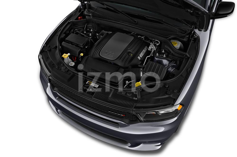 Car stock 2019 Dodge Durango R/T RWD 5 Door SUV engine high angle detail view