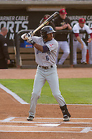 Lake County Captains outfielder Greg Allen (6) at bat during a Midwest League game against the Wisconsin Timber Rattlers on June 3rd, 2015 at Fox Cities Stadium in Appleton, Wisconsin. Wisconsin defeated Lake County 3-2. (Brad Krause/Four Seam Images)