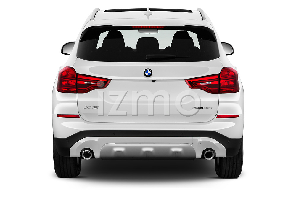 Straight rear view of a 2019 BMW X3 Base 5 Door SUV stock images