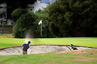Harry Bates plays out of a bunker on the 5th. Day two of the Jennian Homes Charles Tour / Brian Green Property Group New Zealand Super 6s at Manawatu Golf Club in Palmerston North, New Zealand on Friday, 6 March 2020. Photo: Dave Lintott / lintottphoto.co.nz
