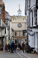 The East Gate Arch on the High Street in Totnes, England, UK. Wednesday 14 April 2021