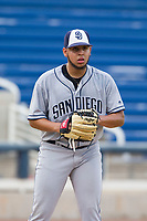 AZL Padres 2 starting pitcher Ramon Perez (16) checks a runner at first base during a game against the AZL Brewers on September 2, 2017 at Maryvale Baseball Park in Phoenix, Arizona. AZL Brewers defeated the AZL Padres 2 2-0. (Zachary Lucy/Four Seam Images)