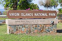 National Park Service sign<br /> entry to the virgin islands national park<br /> St. John<br /> U.S. Virgin Islands