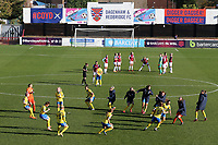 The teams prepare for kick-off during West Ham United Women vs Brighton & Hove Albion Women, Barclays FA Women's Super League Football at the Chigwell Construction Stadium on 15th November 2020