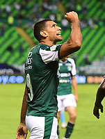 PALMIRA - COLOMBIA, 27-10-2018: Jose Sand jugador del Deportivo Cali celebra después de anotar el cuarto gol de su equipo a Jaguares de Córdoba durante partido por la fecha 17 de la Liga Águila II 2017 jugado en el estadio Palmaseca de la ciudad de Palmira. / Jose Sand player of Deportivo Cali celebrates after scoring the fourth goal of his team to Jaguares de Cordoba during match for the date 17 of the Aguila League II 2017 played at Palmaseca stadium in Palmira city.  Photo: VizzorImage/ Nelson Rios / Cont