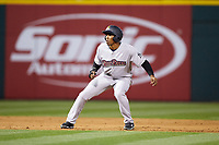 Rashad Crawford (22) of the Scranton/Wilkes-Barre RailRiders takes his lead off of second base against the Charlotte Knights at BB&T BallPark on April 12, 2018 in Charlotte, North Carolina.  The RailRiders defeated the Knights 11-1.  (Brian Westerholt/Four Seam Images)