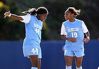 SAN DIEGO, CA - DECEMBER 02, 2012:  Satura Murray (44) and Crystal Dunn (19) of the University of North Carolina during the NCAA 2012 women's college championship match, at Torero Stadium, in San Diego, CA, on Sunday, December 02 2012. Carolina won 4-1.