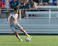 HARTFORD, CT - JULY 10: Jeremy Rafanello #36 of New York Red Bulls II passes the ball during a game between New York Red Bulls II and Hartford Athletics at Dillon Stadium on July 10, 2021 in Hartford, Connecticut.