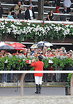 09 August 29: Sam the Bugler call the horses to the post prior to the 140th running of the grade 1Travers Stakes for three year olds at Saratoga Race Track in Saratoga Springs, New York.
