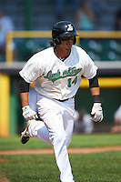Clinton LumberKings shortstop Chris Mariscal (14) runs to first during a game against the Great Lakes Loons on August 16, 2015 at Ashford University Field in Clinton, Iowa.  Great Lakes defeated Clinton 3-2.  (Mike Janes/Four Seam Images)