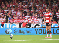 9th October 2021; Kingsholm Stadium, Gloucester, England; Gallagher Premiership Rugby, Gloucester versus Sale Sharks;  Adam Hastings of Gloucester lines up a penalty kick