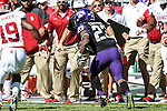 TCU Horned Frogs running back B.J. Catalon (23) in action during the game between the Oklahoma Sooners and the TCU Horned Frogs at the Amon G. Carter Stadium in Fort Worth, Texas. TCU defeats OU 37 to 33.