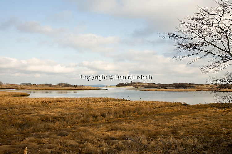 Winter view of saltwater marsh and New London harbor from Waterford, CT