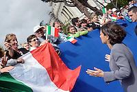 Roma, 2 Giugno 2016<br /> La Presidente della Camera dei Deputati Laura Boldrini saluta la gente in attesa della parata.<br /> Celebrazioni e parata militare per il 70°anniversario della Repubblica italiana.<br /> Rome, June 2, 2016<br /> Celebration and military parade for the 70th anniversary of the Italian Republic