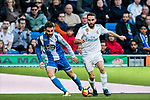 Daniel Carvajal Ramos (R) of Real Madrid competes for the ball with Adrian Lopez Alvarez of RC Deportivo La Coruna during the La Liga 2017-18 match between Real Madrid and RC Deportivo La Coruna at Santiago Bernabeu Stadium on January 21 2018 in Madrid, Spain. Photo by Diego Gonzalez / Power Sport Images