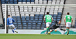 22.05.2021 Scottish Cup Final, St Johnstone v Hibs: Matt Macey saves from Glen Middleton's penalty kick