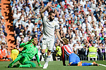Real Madrid's Keylor Navas and Daniel Carvajal and Atletico de Madrid's Antoine Griezmann during La Liga match between Real Madrid and Atletico de Madrid at Santiago Bernabeu Stadium in Madrid, April 08, 2017. Spain.<br /> (ALTERPHOTOS/BorjaB.Hojas)