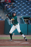 Jared Triolo (19) of the Greensboro Grasshoppers at bat against the Hickory Crawdads at First National Bank Field on May 6, 2021 in Greensboro, North Carolina. (Brian Westerholt/Four Seam Images)