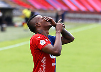 MEDELLIN - COLOMBIA,15-10-2020:Larry Angulo del Independiente Medellín celebra después de anotar el primer gol de su equipo durante el partido entre Independiente Medellín  y Jaguares de Córdoba  por la fecha 14 de la Liga BetPlay DIMAYOR I 2020 jugado en el estadio Atanasio Girardot de la ciudad de Medelín. / Larry Angulo of Independiente Medellin celebrates after scoring the first goal of his team during match between Independiente Medellin and Jaguares de Cordoba for the date 14 BetPlay DIMAYOR League I 2020 played at Atanasio Girardot stadium in Medellin city. Photos: VizzorImage / Donaldo Zuluaga / Contrbuidor