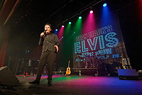 Pictured: 15 year old Alfie Pearson performs o stage for the dean Mack Elvis Gospel Show in the Porthcawl Pavilion. Sunday 29 September 2019<br /> Re: Porthcawl Elvis Festival in south Wales, UK.