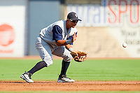 Second baseman Eduardo Escobar #3 of the Charlotte Knights fields a ground ball during the first game of a double header against the Durham Bulls at Durham Bulls Athletic Park on August 28, 2011 in Durham, North Carolina.   (Brian Westerholt / Four Seam Images)