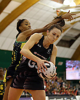 14.09.2016 Silver Ferns Bailey Mes and Jamacia's Shamera Sterling in action during the Taini Jamison netball match between the Silver Ferns and Jamaica played at Arena Manawatu in Palmerston North. Mandatory Photo Credit ©Michael Bradley.