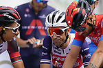 Davide Formolo (ITA) UAE team Emirates, Vincenzo Nibali (ITA) Trek-Segafredo and Damiano Caruso (ITA) Bahrain Victorious chat as they line up for the start of Stage 6 of the 2021 UAE Tour running 165km from Deira Island to Palm Jumeirah, Dubai, UAE. 26th February 2021.  <br /> Picture: Eoin Clarke   Cyclefile<br /> <br /> All photos usage must carry mandatory copyright credit (© Cyclefile   Eoin Clarke)