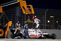 28th March 2021; Sakhir, Bahrain; F1 Grand Prix of Bahrain, Race Day;   MAZEPIN Nikita rus, Haas F1 Team VF-21 Ferrari leaves his caras he crashes during Formula 1 Gulf Air Bahrain Grand Prix 2021
