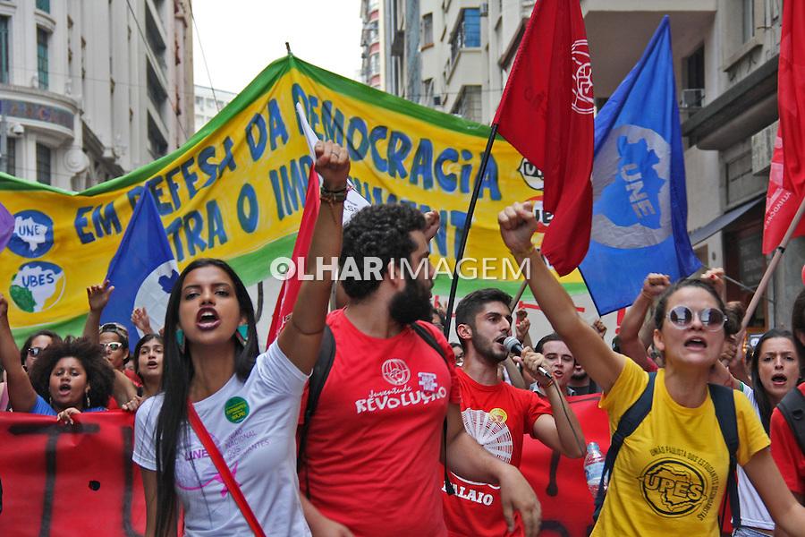 Manifestaçao em defesa da democracia e contra o impeachment. Praça da Se. Sao Paulo. 2016. Foto de Lineu Kohatsu.