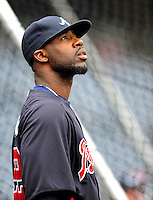 31 March 2011: Atlanta Braves right fielder Jason Heyward awaits his turn in the batting cage prior to the Opening Day festivities and game against the Washington Nationals at Nationals Park in Washington, District of Columbia. The Braves shut out the Nationals 2-0 to open the 2011 Major League Baseball season. Mandatory Credit: Ed Wolfstein Photo