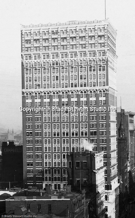 Pittsburgh PA:  View of the new Farmer's Bank building from the roof of the Empire Building.  The building was completed in 1903 and had 24 stories.  It was demolished in 1997.