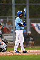 Indiana State Sycamores Miguel Rivera (17) bats during a game against the Dartmouth Big Green on February 21, 2020 at North Charlotte Regional Park in Port Charlotte, Florida.  Indiana State defeated Dartmouth 1-0.  (Mike Janes/Four Seam Images)