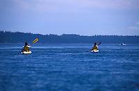 Two Male sea kayaker paddling in synchronized strokes, Cypress Island, San Juan Islands, Washington