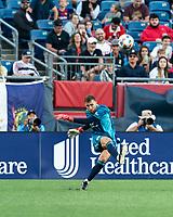 FOXBOROUGH, MA - JUNE 23: Matt Turner #30 of New England Revolution passes the ball during a game between New York Red Bulls and New England Revolution at Gillette Stadium on June 23, 2021 in Foxborough, Massachusetts.