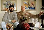Milano, 2000 circa, Daro Fo a casa con suo figlio Jacopo, Dario Fo at home  with his son Jacopo
