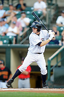 Empire State Yankees second baseman Corban Joseph #1 at bat during a game against the Indianapolis Indians at Frontier Field on August 4, 2012 in Rochester, New York.  Empire State defeated Indianapolis 9-8 in ten innings.  (Mike Janes/Four Seam Images)