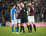 Hearts v St Johnstone…05.11.16  Tynecastle   SPFL<br />Referee Don Roberston has words with Danny Swanson and Igor Rossi<br />Picture by Graeme Hart.<br />Copyright Perthshire Picture Agency<br />Tel: 01738 623350  Mobile: 07990 594431