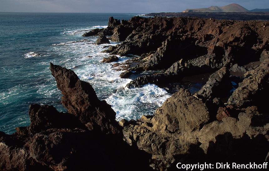 Spanien, Kanarische Inseln, Lanzarote, Küste von los Hervideros